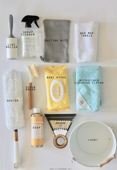 Make a cleaning caddy for your kids to use using only safe (and effective) ingredients and tools.