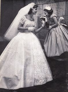 1950s Wedding Gown - how sweet is this bride with her flower girl!