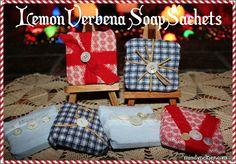 Easy soap sachets made with Trader Joe's Lemon Verbena and Shea Butter soaps, fabric, and trim. #Christmas #DIY