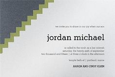 Cubic Bar Mitzvah Invitation - $4.89 each when you purchase 100.