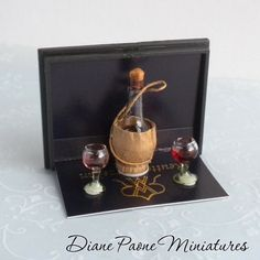 Reutter Porcelain Chianti Wine Set - Italian Dinner - Dollhouse Miniature Food $19.50