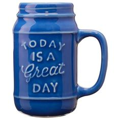 Blue Ceramic Mason Jar Today Is a Great Day featuring polyvore, home, kitchen & dining, blue stoneware and ceramic stoneware