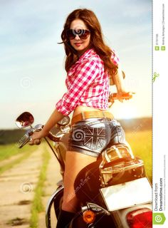 Biker Girl Sitting On Motorcycle Royalty Free Stock Photo - Image ...  #motorcycle #sunglasses #ride #safe #safety #sunnies #summer  www.anysunglasses.com www.pinterest.com/anysunglasses.com