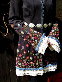 Black Cotton Embroidered Jacket, Bohemian, Victorian, Wearable Art, Concho Belt, Embroidery, Haute Couture on Etsy, $165.00