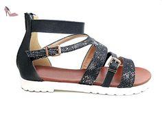 a8e35c3285f16 SHS50   Sandales Plates Nu-Pieds Spartiate Imprimé Animal Boucles et Semelle  Blanche - Mode Femme  Amazon.fr  Chaussures et Sacs