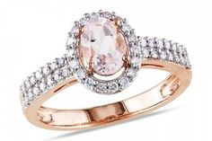 1 1/10 Carat Morganite and Diamond 10K Pink Gold Ring on shopstyle.com