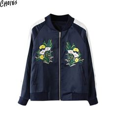 Choies Women Blue Floral Embroidery Contrast Long Sleeve Casual Bomber Jacket…