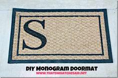 DIY Monogrammed Doormat - no expensive supplies to buy
