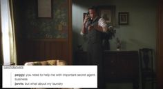 agent carter + text posts Jarvis, though. Peggy Carter, Agent Carter, Marvel Funny, Marvel Memes, Marvel Avengers, Marvel Comics, Marvel Films, Avengers Movies, I Understood That Reference