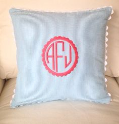 Seersucker Scallop Monogrammed Pillow Cover Only by peppermintbee, $42.00