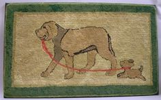 Mounted Wool and Cotton Hooked Rug with Mother Dog and Puppy. | Sale Number 2344, Lot Number 11175 | Skinner Auctioneers