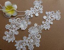 Ivory Venise Lace Applique, Bridal Hair Appliques, Wedding Lace Appliques, Neckline Lace