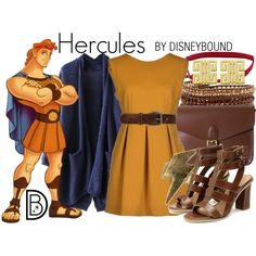 Hercules by leslieakay on Polyvore featuring G2Choice, Angela & Roi, Lord & Taylor, Bed|Stu, disney, disneybound and disneycharacter