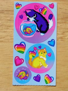 Vintage Lisa Frank Sticker Kittens playing with Fish Childhood Friends, Childhood Memories, Lisa Frank Stickers, Kittens Playing, Cat Stickers, Old Toys, Rock Painting, Tattoo Inspiration, Rainbows