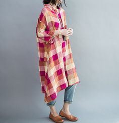 Linen Oversize asymmetric dress Loose Fitting Blouse by MaLieb