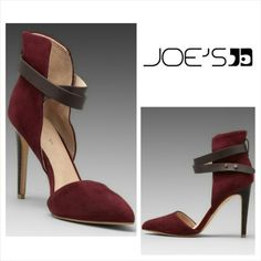 Joe's Jeans Suede Heels Joe's Jeans Suede Burgundy Heels. You'll fall in love with these right away! They feature open sides, pointed toe and luxurious burgundy suede. A wrapping strap uses studs to adjust the fit while a 4 inch heel delivers a lift!  No trade, discount with bundle! Joe's Jeans Shoes Heels