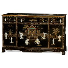 China Furniture Online Black Lacquer Sideboard, Hand Painted Courtyard Scene with Mother Pearl Courtesans Inlay Cabinet in Black How To Clean Furniture, Unique Furniture, Online Furniture, Painted Furniture, Chinese Furniture, Oriental Furniture, Funky Home Decor, Asian Home Decor, Black Platform Bed