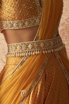 Designer Sarees Wedding, Designer Party Wear Dresses, Indian Fashion Dresses, Indian Designer Outfits, Lehenga Designs Latest, Girls Boutique Dresses, Saree With Belt, Blouse Neck Designs, Golden Yellow