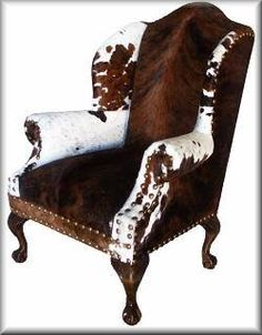 Leather Western Chair - Ideas on Foter Cowhide Decor, Cowhide Furniture, Cowhide Chair, Western Furniture, Leather Furniture, Furniture Decor, Furniture Design, Cabin Furniture, Leather Chairs