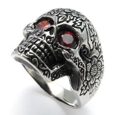 23 mm New Vintage Delicate Red Eyes Skeleton Skull Silver Stainless Steel Rings Charm Men Ring Handsome Jewelry 073762 #Affiliate