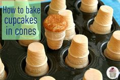 when baking Ice Cream Cone Cupcakes that are sometimes hard to keep from tipping over…bake them upside down!! Yup! Just spray your cupcake pan, add the batter and position the cone on top of the batter.