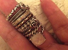 Pandora sterling silver, mother of pearl, yellow CZ, pearl rings