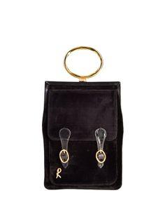 Roberta di Camerino Vintage Corduroy Velvet Flat Buckle Bag - from Amarcord Vintage Fashion