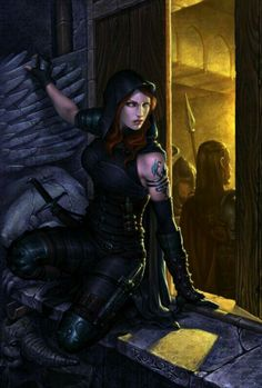 Female sneaking to listen in on soldiers talking - dressed in black - rouge - assassin - thief - outfit inspiration - character inspiration - male and female - people - fantasy 3d Fantasy, Fantasy Warrior, Medieval Fantasy, Fantasy Girl, Fantasy Artwork, Dark Fantasy, Dnd Characters, Fantasy Characters, Female Characters