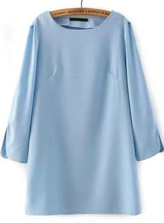 Vestido suelto manga larga-azul