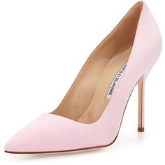 Manolo Blahnik BB Suede 105mm Pump, Light Pink found on Polyvore