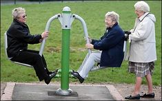 It's Britain's first playground for PENSIONERS. This park boasts six special 'rides' strictly for Seniors that are meant to provide exercise as well as fun.-----great idea!