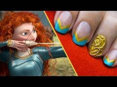 """The gold trimming and intricate beadwork from Merida's formal dress in Disney•Pixar's """"Brave"""" inspires this exclusive CutePolish nail art tutorial!     A Disney Exclusive from http://YouTube.com/user/CutePolish.    Let us know what your favorite nail style is in the comments below.    SUBSCRIBE to get notified when new nail design videos are posted!    ..."""