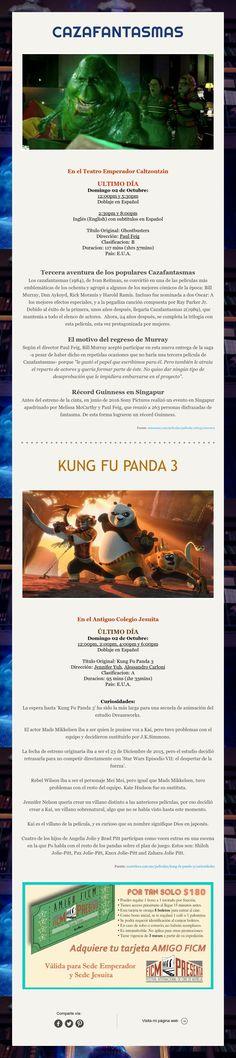 Cazafantasmas y Kung Fu Panda 3 ¡Excelentes películas para disfrutar del domingo en familia!