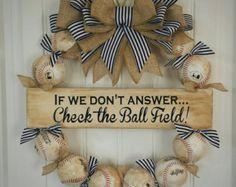 Oversized Baseball Wreath Baseball Decor by SarahBerryDesigns