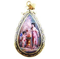 14k Gold Victorian Enamel Diamond Locket Pendant of Venus and Cupid