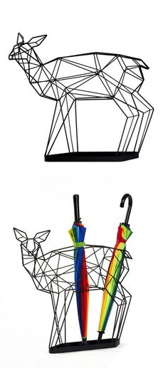 Geometric deer sculpture / umbrella stand