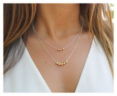 Layered gold ball necklace, ball necklace, round gold filled beads necklace, gold layered ball necklace, gold filled ball, beaucoup de beads by BeaucoupdeBeads on Etsy