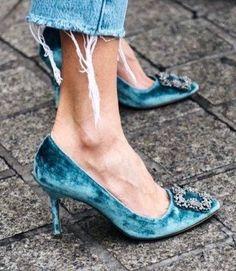 Velvet Shoes from Manolo Blahnik. Heel Pumps, Pump Shoes, Women's Shoes, Me Too Shoes, Shoe Boots, Mid Heel Shoes, Fall Shoes, Shoes Style, Shoes Men