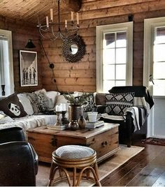 Paredes y pisos, Rustic Home Design, Rustic Cabin Decor, Rustic Chic, Cabin Homes, Log Homes, White Cabin, Log Cabin Living, Cabin Chic, Log Home Decorating