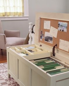 """Here's a great DIY idea! Worth watching craigslist for an old trunk or chest! Install a file hanging system for a creative file cabinet solution for tiny apartment living! Top tips for organizing your apartment from the Smarter Renter blog by Steve Brown Apartments. Beautiful apartments in Madison, WI. We can't wait to have you call our Madison apartments """"home."""""""