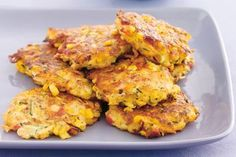 These low kilojoule fritters are our choice for easy weeknight meals. Cooking Tips, Cooking Recipes, Healthy Recipes, Cooking Classes, Free Recipes, Vegetarian Recipes, Vegan Recepies, Cooking Bacon, Keto Recipes