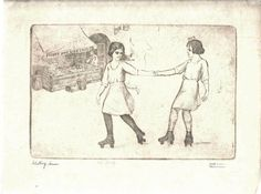 Marco ZIM Etching 1930s Young Little Girls Roller Skating Lower East Side NY in Art Deco | eBay