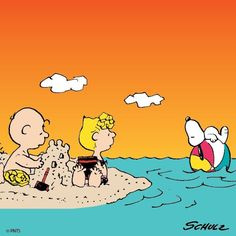 Snoopy, Charlie Brown and Sally at the beach
