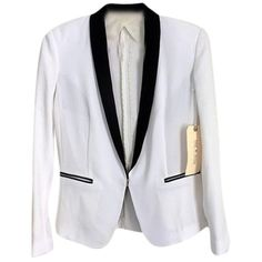 Pre-owned Rag & Bone & New York Handmade Tuxedo Jacket Size 2 Winter... (€95) ❤ liked on Polyvore featuring outerwear, jackets, blazers, winter white black stripe, striped blazer, stripe blazer, ivory tuxedo jacket, white winter jacket and ivory dinner jacket