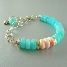 Peruvian Opal and Shell Sterling Bracelet   Ebb and by SurfAndSand