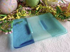 Soap Dish in Turquoise Blue Glass by bprdesigns on Etsy, $13.00