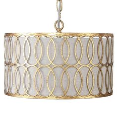 gabby+home+peterson+drum+pendant+-+Interlocking+metal+finished+in+an+antique+gold+is+overlaid+on+a+linen+shade+for+a+warm,+transitional+&+modern+feel+in+our+Peterson+drum+pendant. Chandeliers And Pendants, Lighting, Drum Light, Modern Light Fixtures, Drum Lampshade, Gold Ceiling, Modern Pendant, Drum Pendant Lighting, Drum Pendant