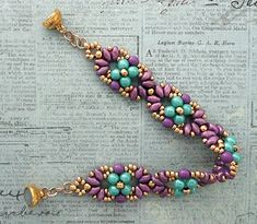 Linda's Crafty Inspirations: Bracelet of the Day: Eclipse Bracelet - Turquoise & Purple