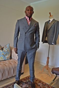 Mr Rampa in LM Made To Measure Double Breasted Peaked Lapels Checked Suit...