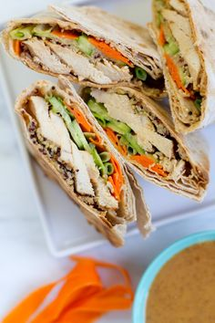Coconut-Red Curry Chicken Wrap with Spicy Peanut Sauce